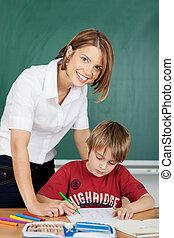 uśmiechanie się, nauczyciel, student