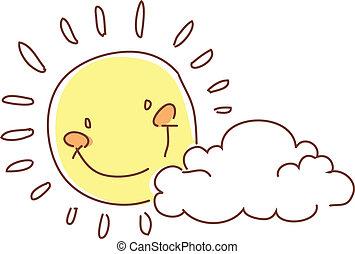 uśmiechanie się, niebo, słońce