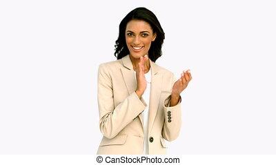 uśmiechanie się, oklaski, kobieta interesu