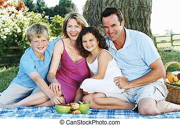 uśmiechanie się, outdoors, piknik, rodzina, posiedzenie