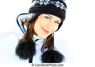 uśmiechanie się, piękny, dziewczyna, portret, w, zima czas, z, snow.