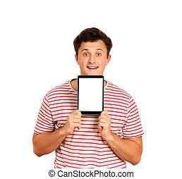 uśmiechanie się, pokaz, computer., tabliczka, ekran, odizolowany, młody, tło, czysty, emocjonalny, biały, facet, człowiek