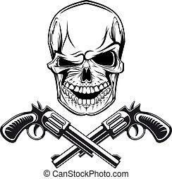 uśmiechanie się, rewolwery, czaszka
