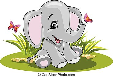 uśmiechanie się, rysunek, motyle, słoń