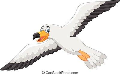 uśmiechanie się, rysunek, seagull