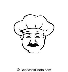 uśmiechanie się, szkic, mistrz kucharski, ilustracja, wektor