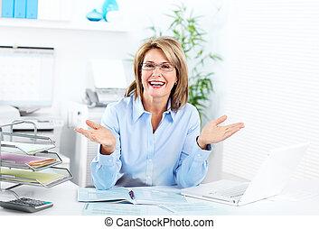 uśmiechanie się, woman., handlowy