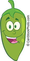 uśmiechanie się, zielony chili pieprz