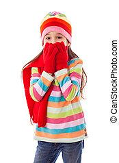 uśmiechnięta dziewczyna, w, ciepły, zima ubranie