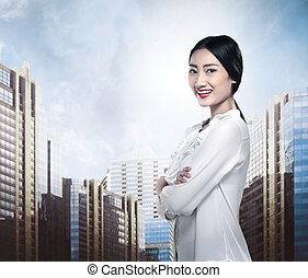 uśmiechnięta kobieta, asian handlowy