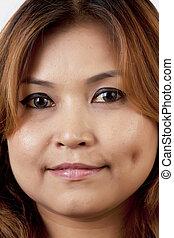 uśmiechnięta kobieta, asian, twarze