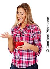 uśmiechnięta kobieta, dzierżawa, portfel, i, gesturing, dont, wiedzieć