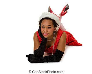 uśmiechnięta kobieta, kapelusz, czerwony, święty
