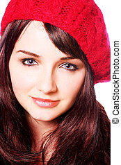 uśmiechnięta kobieta, kapelusz, czerwony