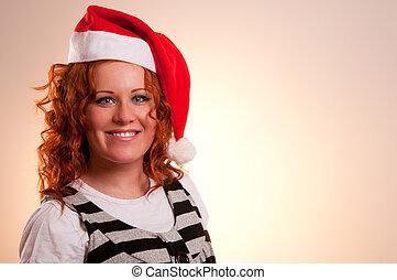 uśmiechnięta kobieta, kapelusz, santa
