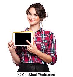 uśmiechnięta kobieta, komputer, tabliczka