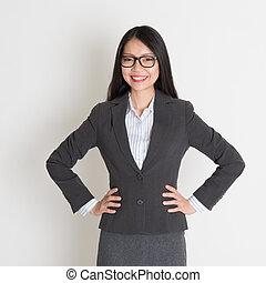 uśmiechnięta kobieta, młody, handlowy, asian