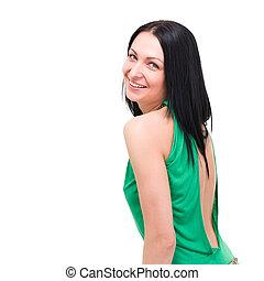 uśmiechnięta kobieta, na białym, tło