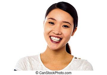 uśmiechnięta kobieta, pociągający, młody