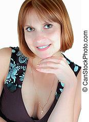 uśmiechnięta kobieta, portret, (on, niejaki, lekki szary, background)