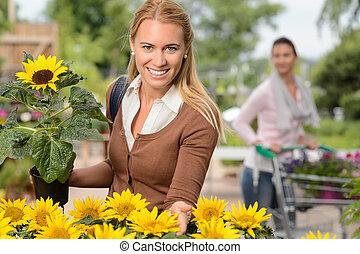 uśmiechnięta kobieta, utrzymywać, doniczkowy, słonecznik, ogrodowy środek