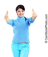 uśmiechnięta kobieta, z, kciuki do góry