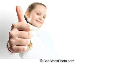 uśmiechnięta mała dziewczyna, z, kciuki do góry, znak, odizolowany, na białym