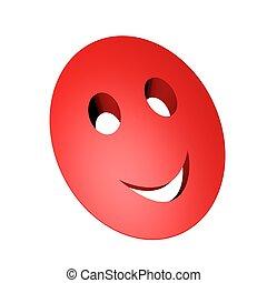 uśmiechnięta maska, czerwony