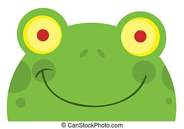 uśmiechnięta twarz, żaba