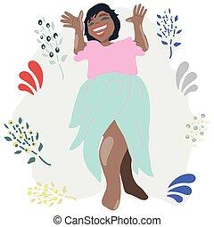 uśmiechnięty., amerykańska kobieta, szczęśliwy, afrykanin