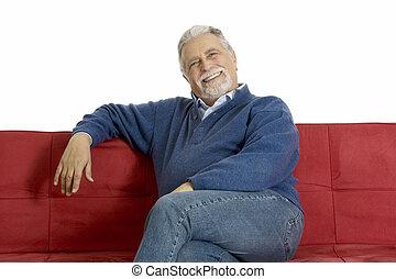 uśmiechnięty człowiek, stary, leżanka