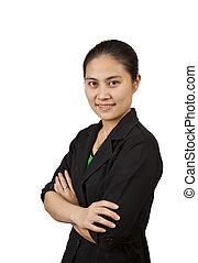 uśmiechnięty., kobieta, asian handlowy