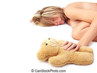 uśpiony, z, teddy