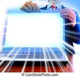 użyteczny, f, ekran, czysty, laptop