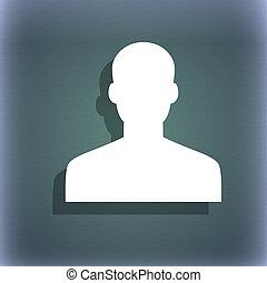 użytkownik, kloc, przestrzeń, text., symbol, błękitna-zieleń, osoba, abstrakcyjny, tło, cień, twój, ikona