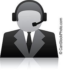 użytkownik, poparcie, wektor, telefon, ikona