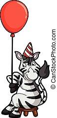 używając, balloon, birhtday, zebra