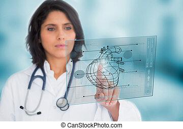 używając, interfejs, kardiolog, medyczny