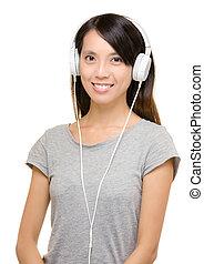 używając, kobieta, asian, słuchawka