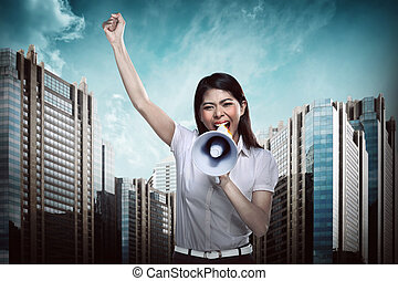 używając, kobieta, megafon, handlowy