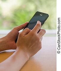 używając, kobieta, smartphone, asian