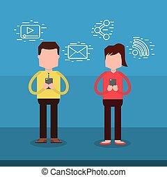 używając, kobieta, smartphone, litera, człowiek