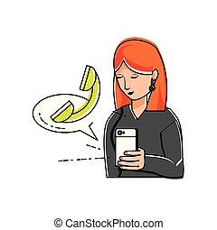 używając, kobieta, smartphone, telefon