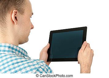 używając komputer, tabliczka, człowiek