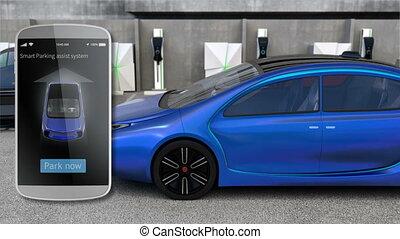 używając, mądry, telefon, apps, do, parking