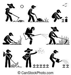 używając, narzędzia, ogrodnik, rolnik