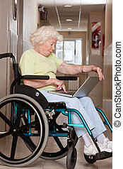 używając, wheelchair, kobieta, laptop