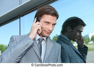 używając, wykonawca, przysiek, cellphone