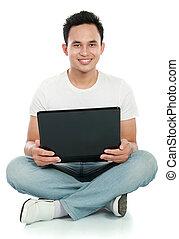 używający laptop, człowiek