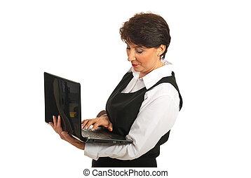 używający laptop, kobieta, dojrzały, handlowy